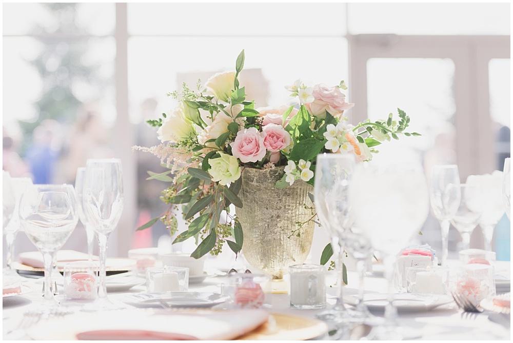Blush wedding floral centerpiece   Ritz Charles Garden Pavilion Wedding by Stacy Able Photography & Jessica Dum Wedding Coordination