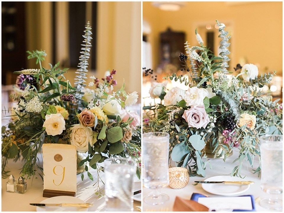 Neutral + gold floral centerpieces   Navy and Gold Wedding at Laurel Hall with Ivan & Louise Photography + Jessica Dum Wedding Coordination
