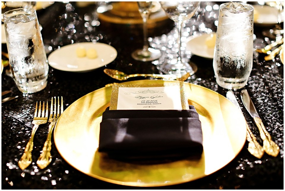 black and gold place setting, the alexander hotel wedding, Morgan + Julian