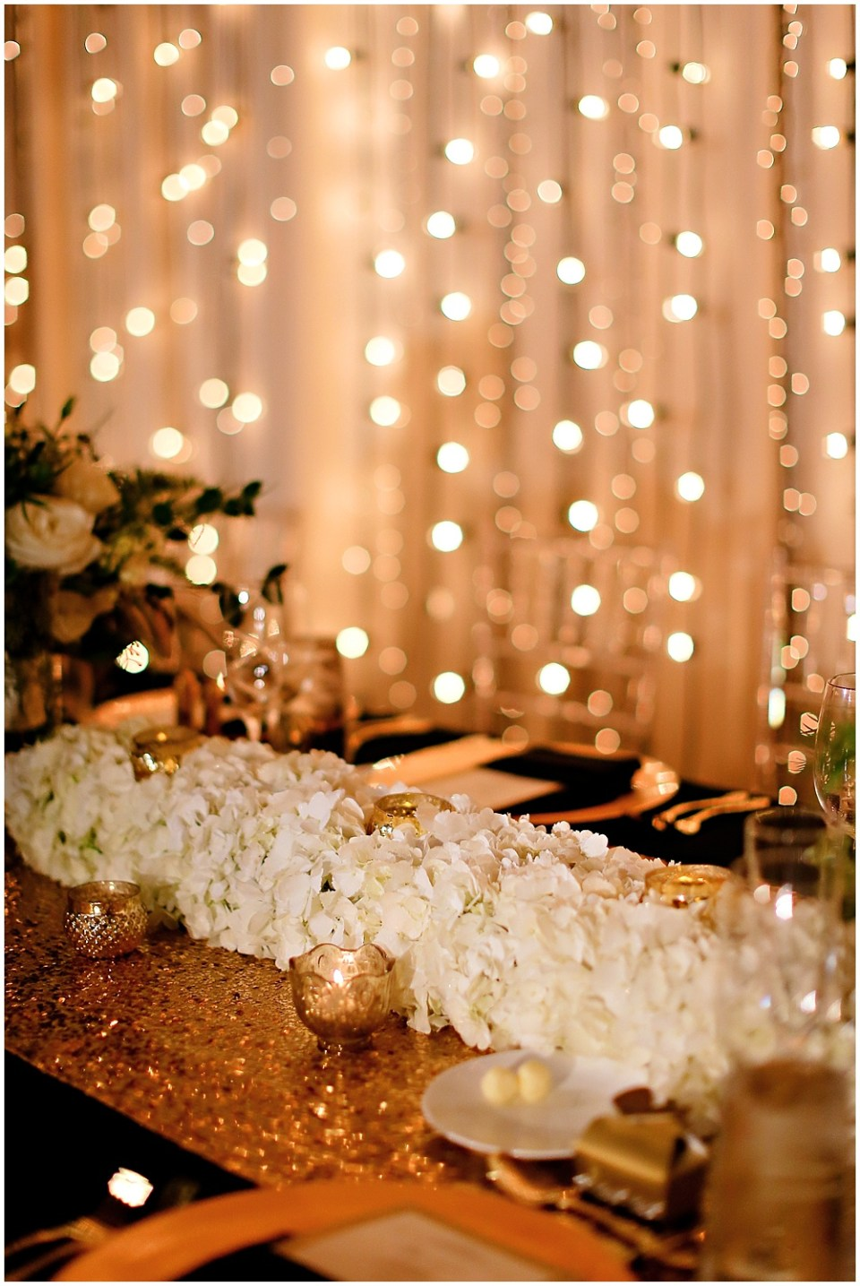 gold banquet table, the alexander hotel wedding, Morgan + Julian