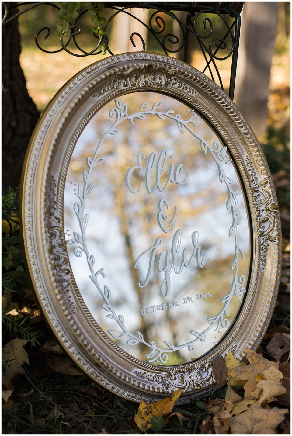 personalized sign, barn in zionsville wedding, ellie + tyler, ivan and louise images, jessica dum wedding coordination