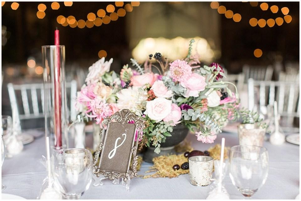 pink rose centerpiece, barn in zionsville wedding, ellie + tyler, ivan and louise images, jessica dum wedding coordination