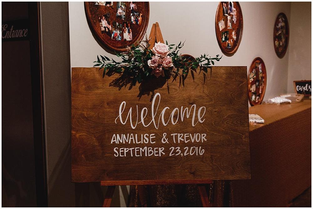 wood reception welcome sign   Chicago urban rustic wedding  Sandra Armenteros Photography   Jessica Dum Wedding Coordination