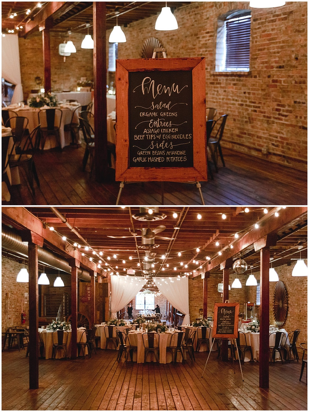 wood personalized menu sign   Chicago urban rustic wedding  Sandra Armenteros Photography   Jessica Dum Wedding Coordination