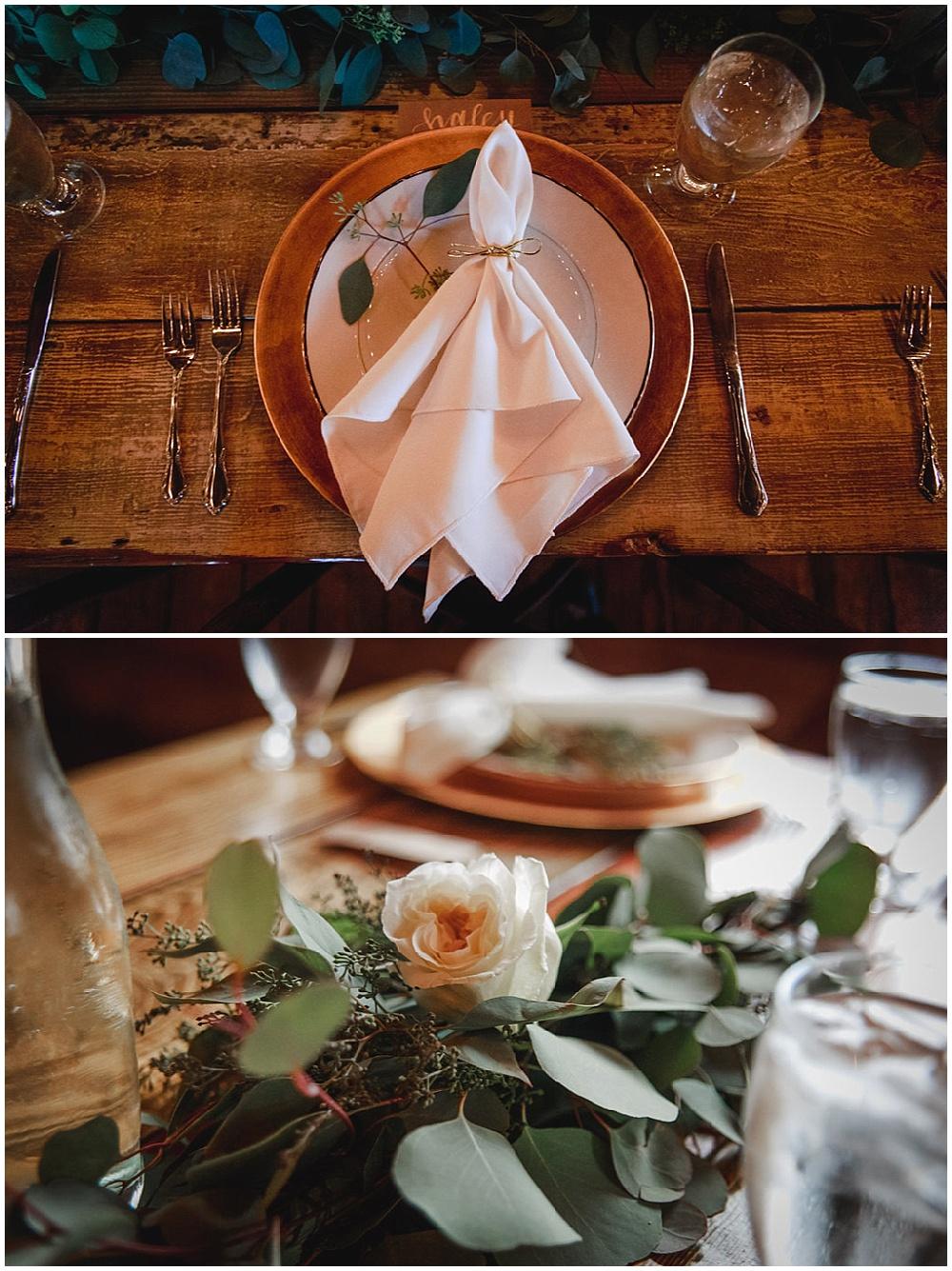 blush table decor with greenery sprigs   Chicago urban rustic wedding  Sandra Armenteros Photography   Jessica Dum Wedding Coordination