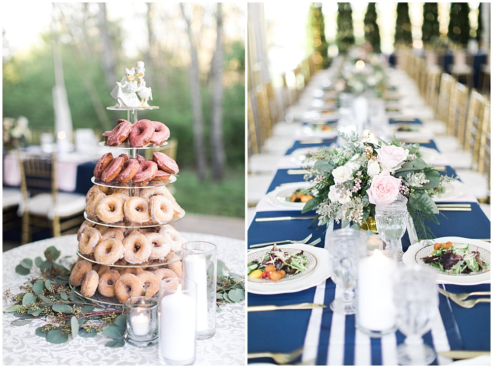 donut wedding cake and navy tablescape, navy and pink southern wedding   Ivan & Louise Images and Jessica Dum Wedding Coordination