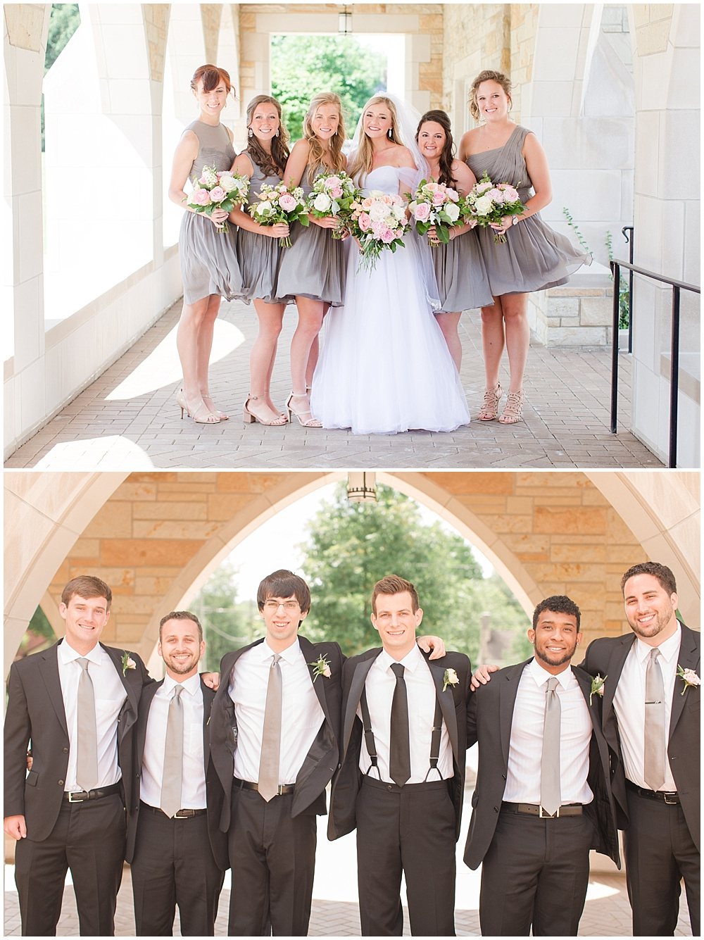 grey bridesmaid dresses; blush and white bridesmaid bouquets; st. paul's episcopal church   Sami Renee Photography   Jessica Dum Wedding Coordination