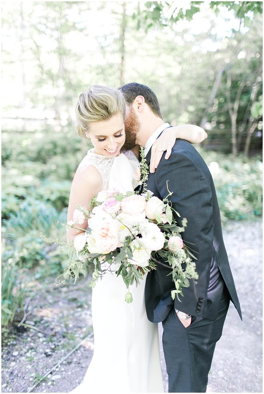 Bride and groom; lace BHLDN wedding dress; Spring floral + gold wedding | Ivan & Louise Images | Jessica Dum Wedding Coordination