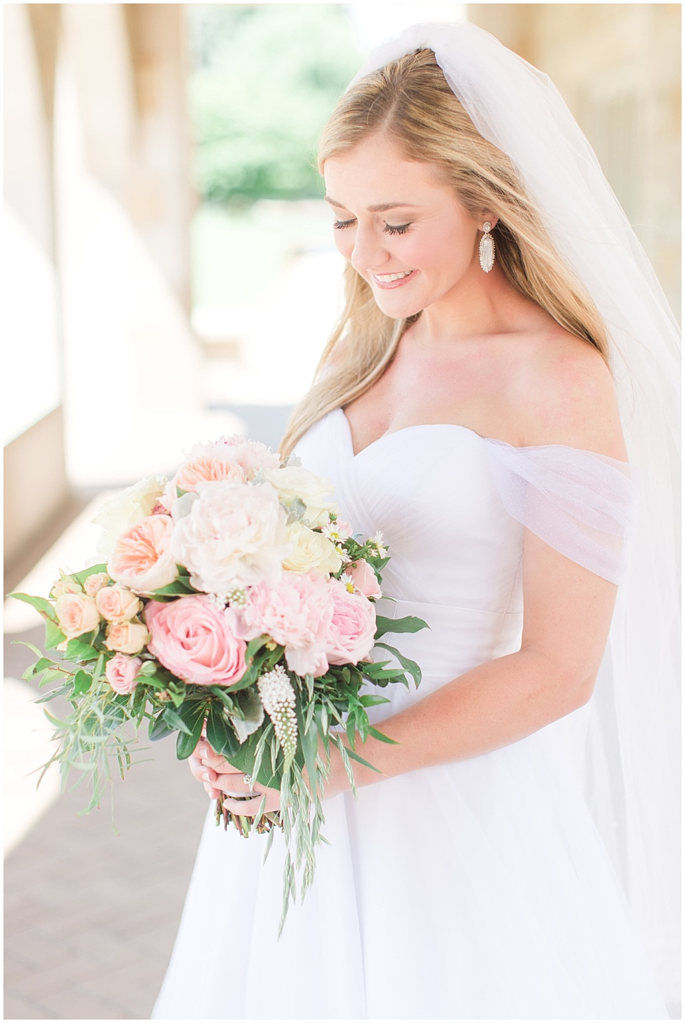 Classic white off-the-shoulder bridal gown with blush and pink bridal bouquet   Sami Renee Photography + Jessica Dum Wedding Coordination