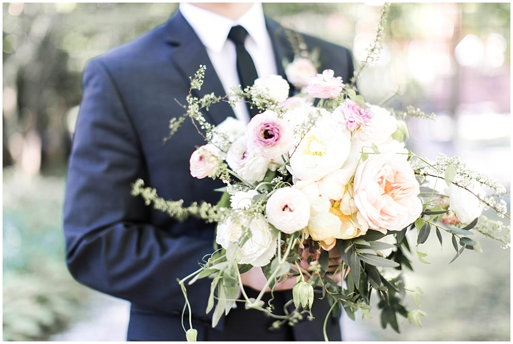 blush, purple and yellow bridal bouquet; groom holding bridal bouquet; creative business recap; our year in review | Ivan & Louise Images