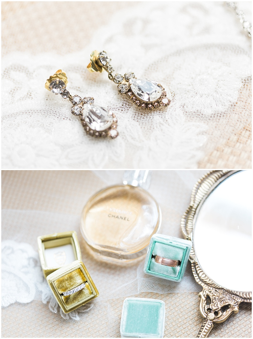 diamond earrings; the mrs. box; gold the mrs. box; blue the mrs. box; antique mirror; wedding ring flat lay photo; wedding ring box; Mexican inspired gold & floral wedding; Crowne Plaza Indianapolis Downtown Union Station; neutral floral and greenery wedding|Cory + Jackie and Jessica Dum Wedding Coordination