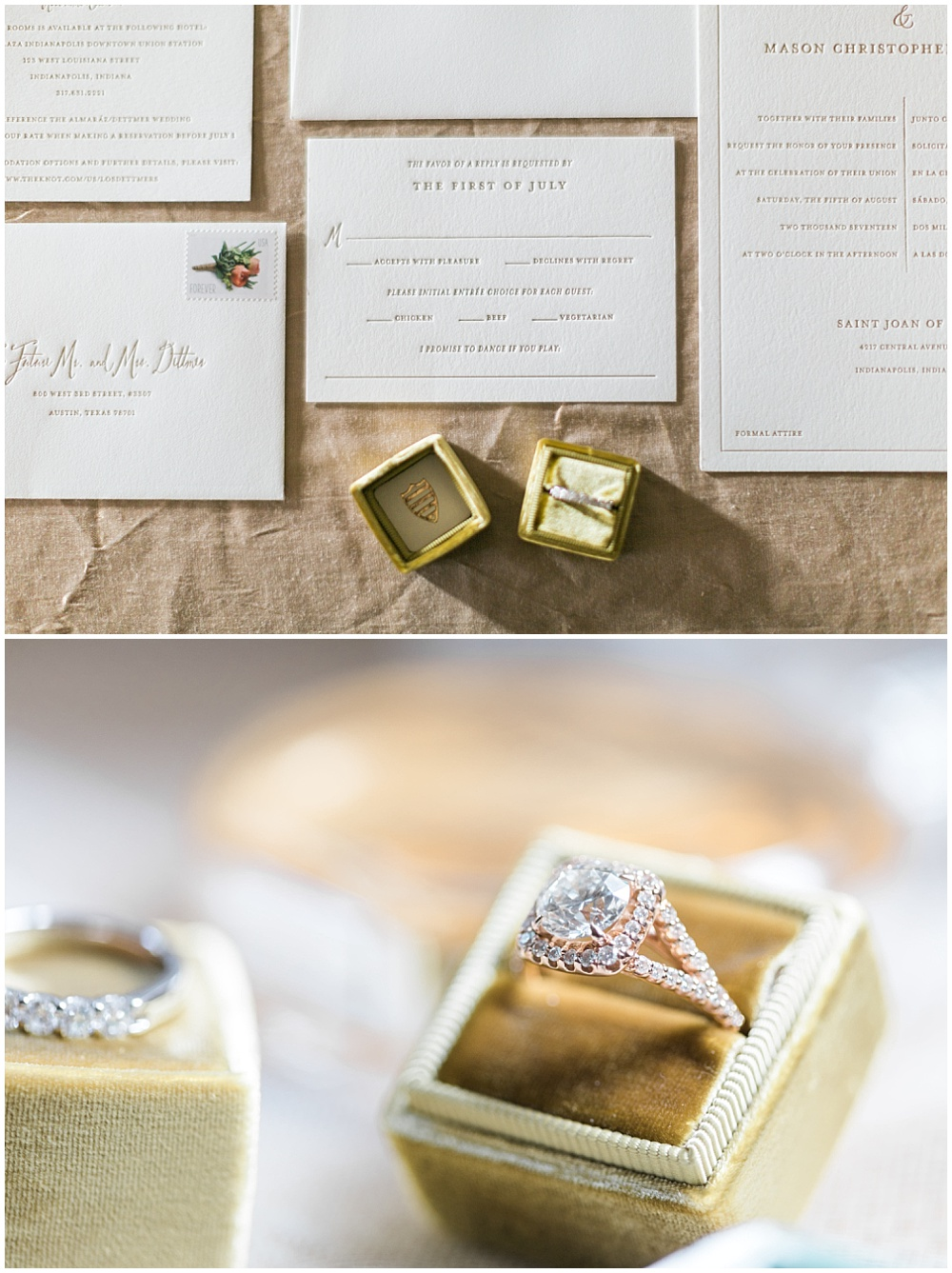 simple invitation suite; white and gold invitation suite; letterpress invitation suite; gold the mrs. box; wedding ring box; invitation flat lay photo; Mexican inspired gold & floral wedding; Crowne Plaza Indianapolis Downtown Union Station; neutral floral and greenery wedding|Cory + Jackie and Jessica Dum Wedding Coordination