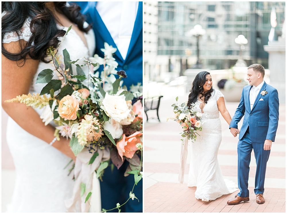 neutral bridal bouquet with greenery; white lace wedding dress; blue groom's suit with brown shoes; Mexican inspired gold & floral wedding; Crowne Plaza Indianapolis Downtown Union Station; neutral floral and greenery wedding|Cory + Jackie and Jessica Dum Wedding Coordination