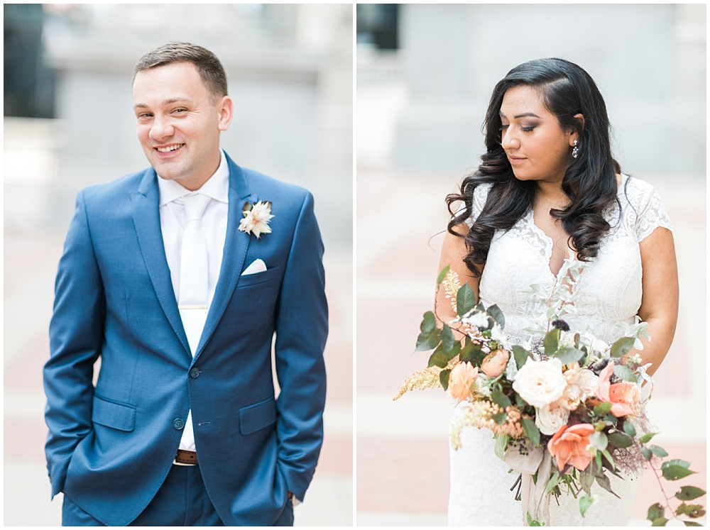 bride and groom portraits; blue groom's suit; white lace wedding dress; neutral bridal bouquet; Mexican inspired gold & floral wedding; Crowne Plaza Indianapolis Downtown Union Station; neutral floral and greenery wedding|Cory + Jackie and Jessica Dum Wedding Coordination