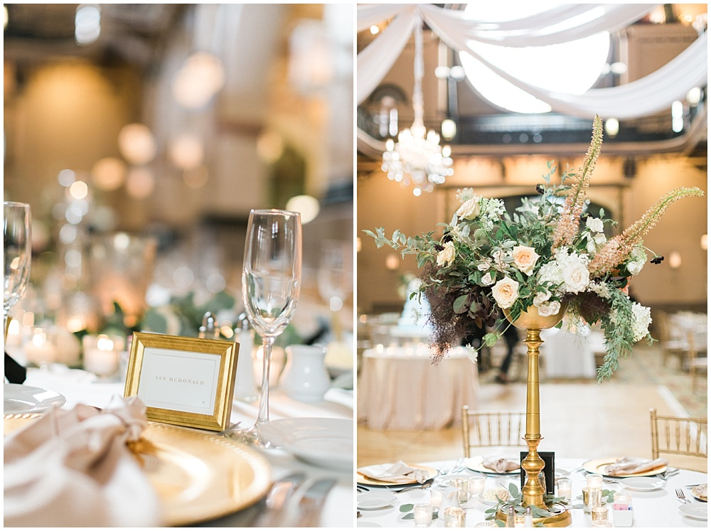 blush and gold wedding tablescape; draped fabric with crystal chandelier; gold framed placecards; Mexican inspired gold & floral wedding; Crowne Plaza Indianapolis Downtown Union Station; neutral floral and greenery wedding|Cory + Jackie and Jessica Dum Wedding Coordination
