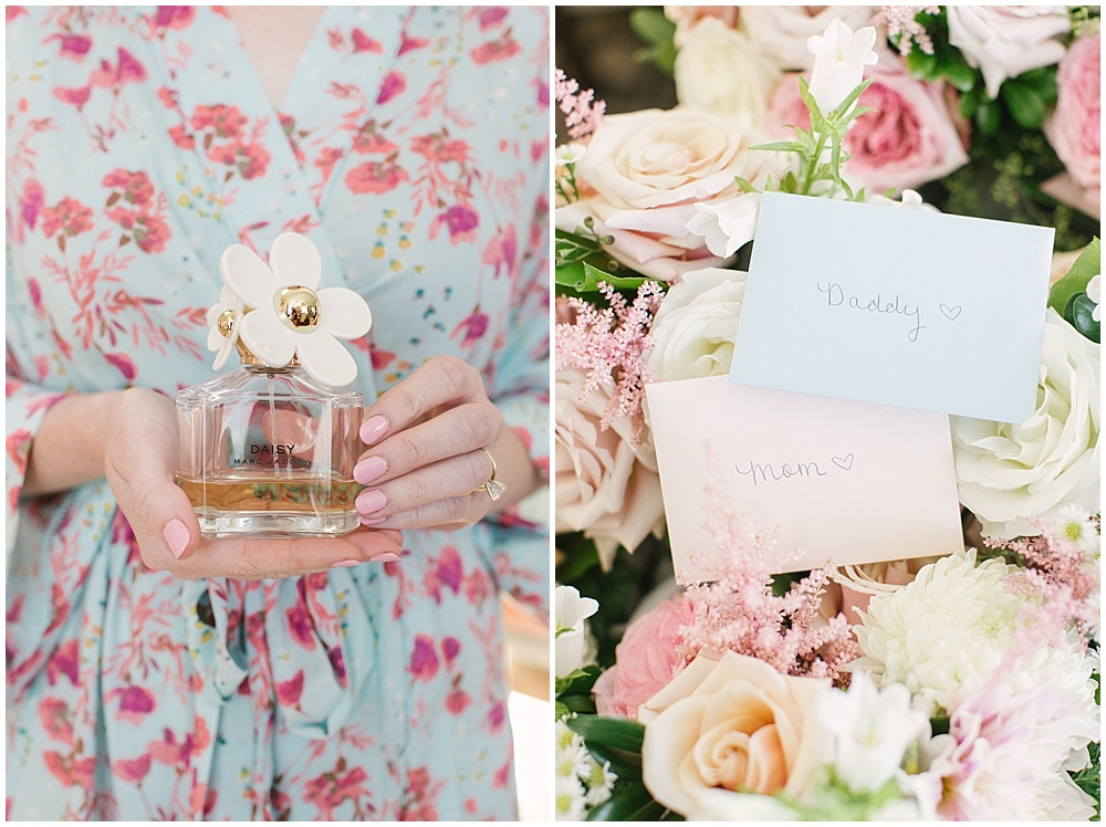pink floral bridal robe; blush flowers; wedding notes to mom and dad; Navy + blush wedding; Scottish Rite Cathedral| Traci & Troy Photography and Jessica Dum Wedding Coordination