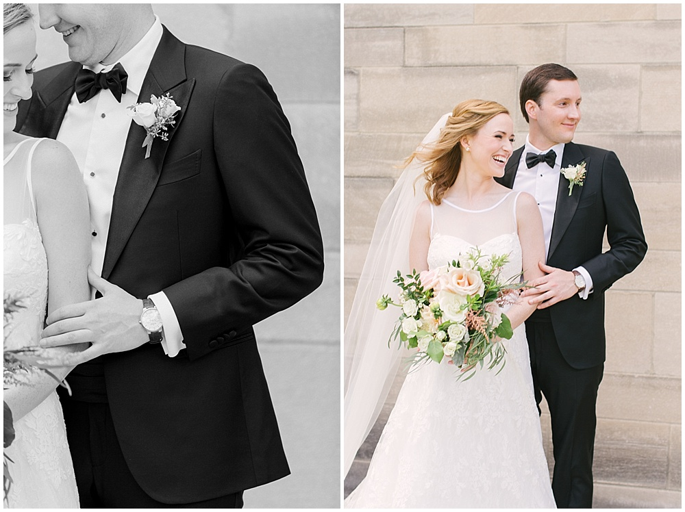 bride and groom portraits; blush and white bridal bouquet with greenery; Navy + blush wedding; Scottish Rite Cathedral| Traci & Troy Photography and Jessica Dum Wedding Coordination