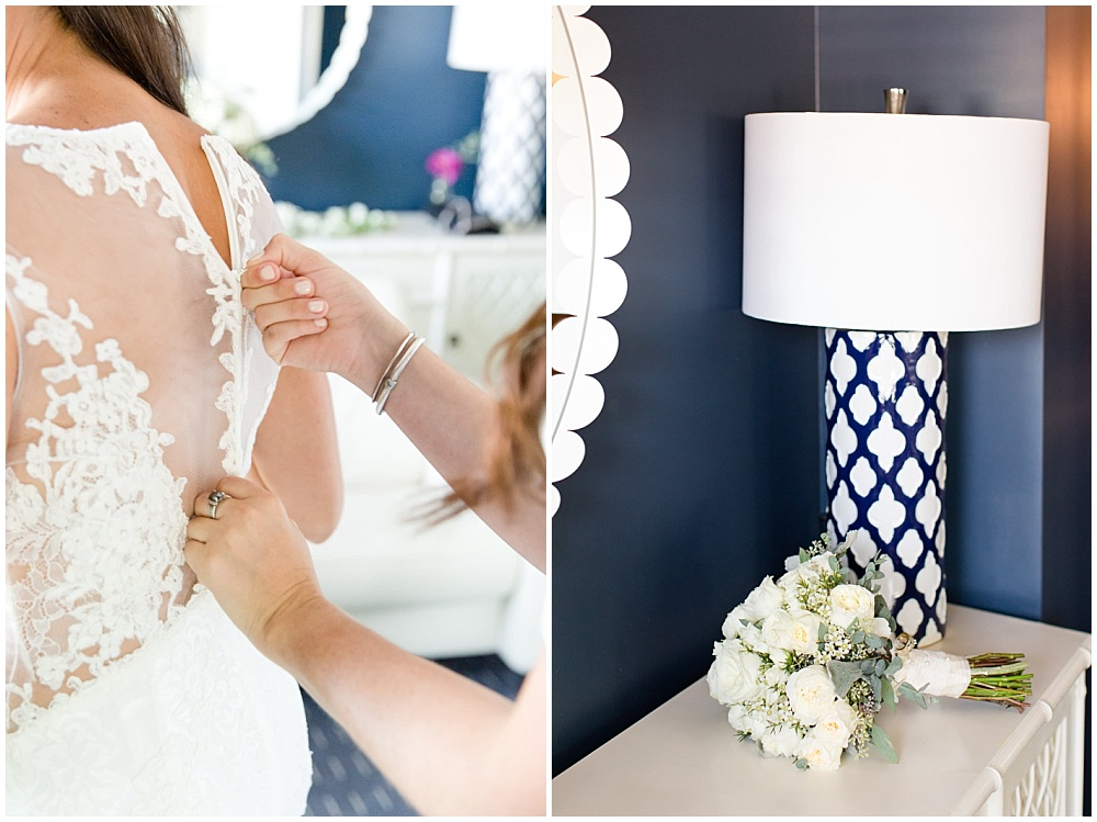 bridal portraits; bride getting into dress; white lace wedding dress; white wedding; white bridal bouquet | Outdoor Terrace Wedding, Laurel Hall - Danielle Harris Photography; Jessica Dum Wedding Coordination