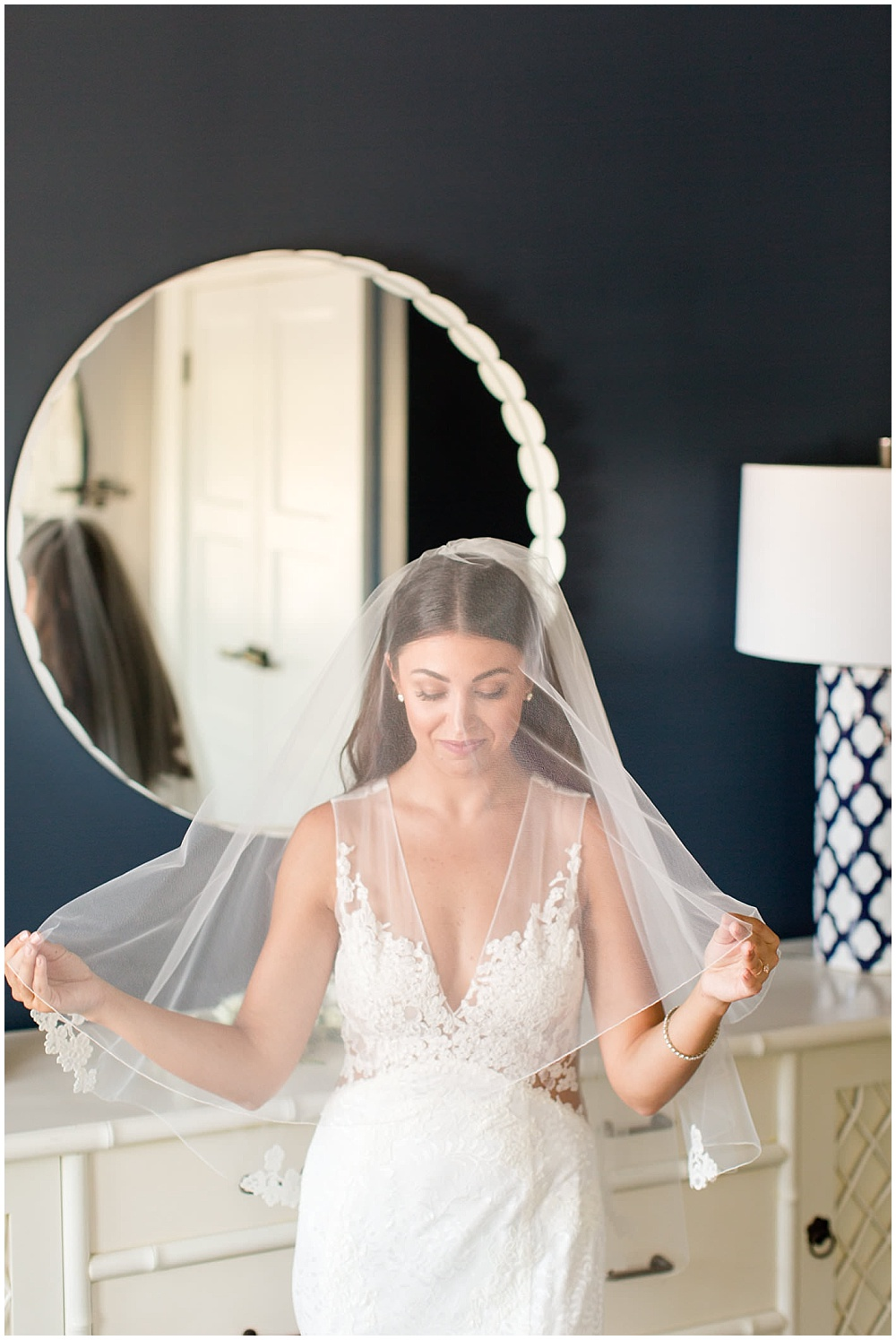 bridal portraits; bride getting ready; white veil; white lace wedding dress; white wedding; white bridal bouquet | Outdoor Terrace Wedding, Laurel Hall - Danielle Harris Photography; Jessica Dum Wedding Coordination