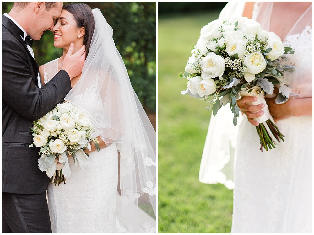 bride and groom portraits; white lace wedding dress; white bridal bouquet; white wedding | Outdoor Terrace Wedding, Laurel Hall - Danielle Harris Photography; Jessica Dum Wedding Coordination