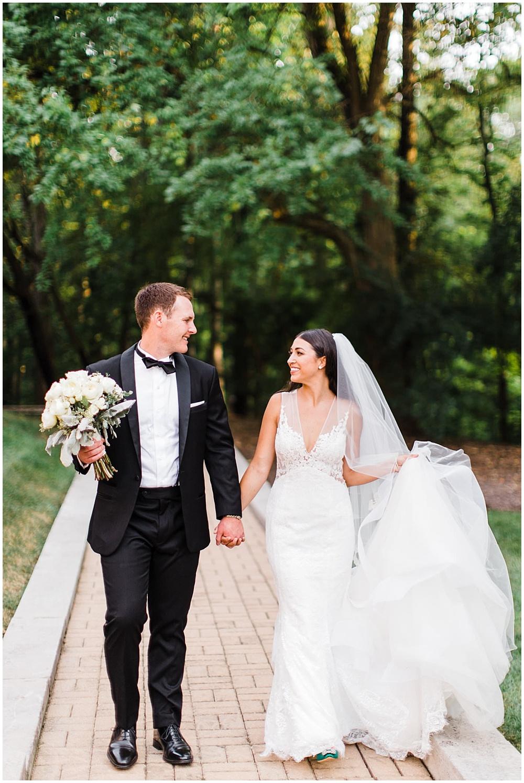 bride and groom portraits; white lace wedding dress; white bridal bouquet; white wedding | Outdoor Terrace Wedding, Laurel Hall - Danielle Harris Photography; Jessica Dum Wedding Coordination