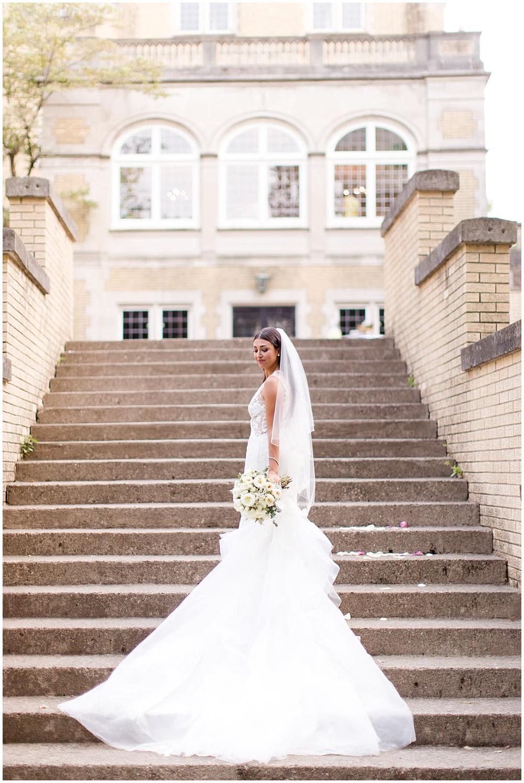bridal portraits; white lace wedding dress; white wedding; white bridal bouquet | Outdoor Terrace Wedding, Laurel Hall - Danielle Harris Photography; Jessica Dum Wedding Coordination