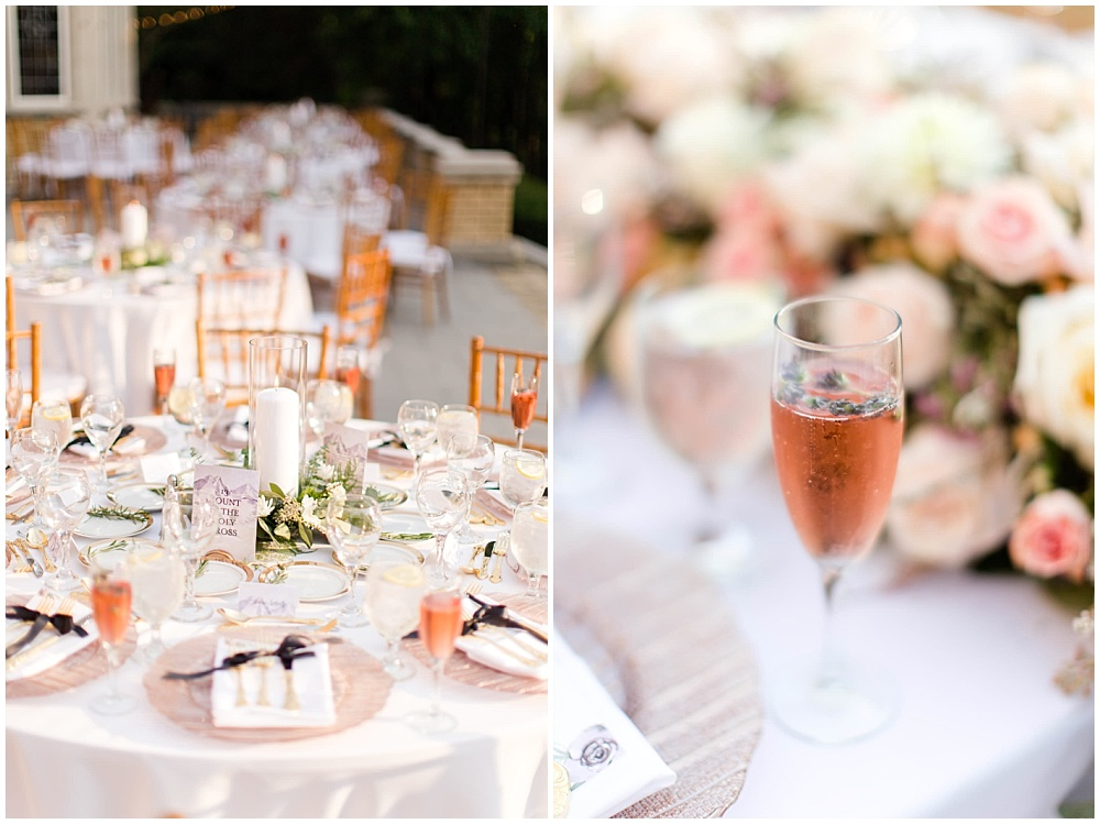 draped head table flowers; black ribbon napkin tie; custom table numbers; rose toast with lavender sprig; rose gold chargers; gold flatware; mixed metallics; wedding tablescape; white wedding | Outdoor Terrace Wedding, Laurel Hall - Danielle Harris Photography; Jessica Dum Wedding Coordination