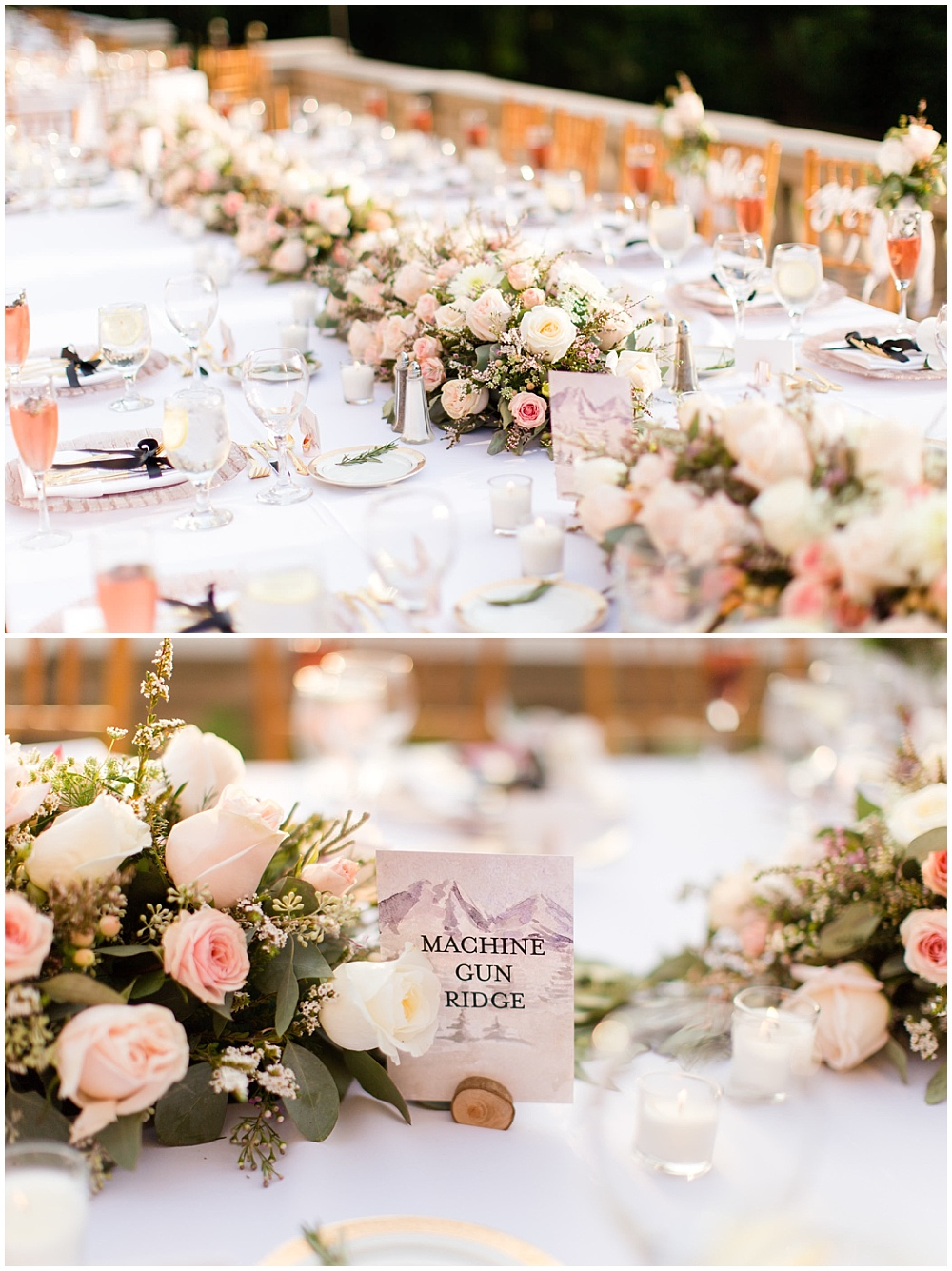 draped head table flowers; custom table numbers; rose toast with lavender sprig; rose gold chargers; gold flatware; mixed metallics; wedding tablescape; white wedding | Outdoor Terrace Wedding, Laurel Hall - Danielle Harris Photography; Jessica Dum Wedding Coordination