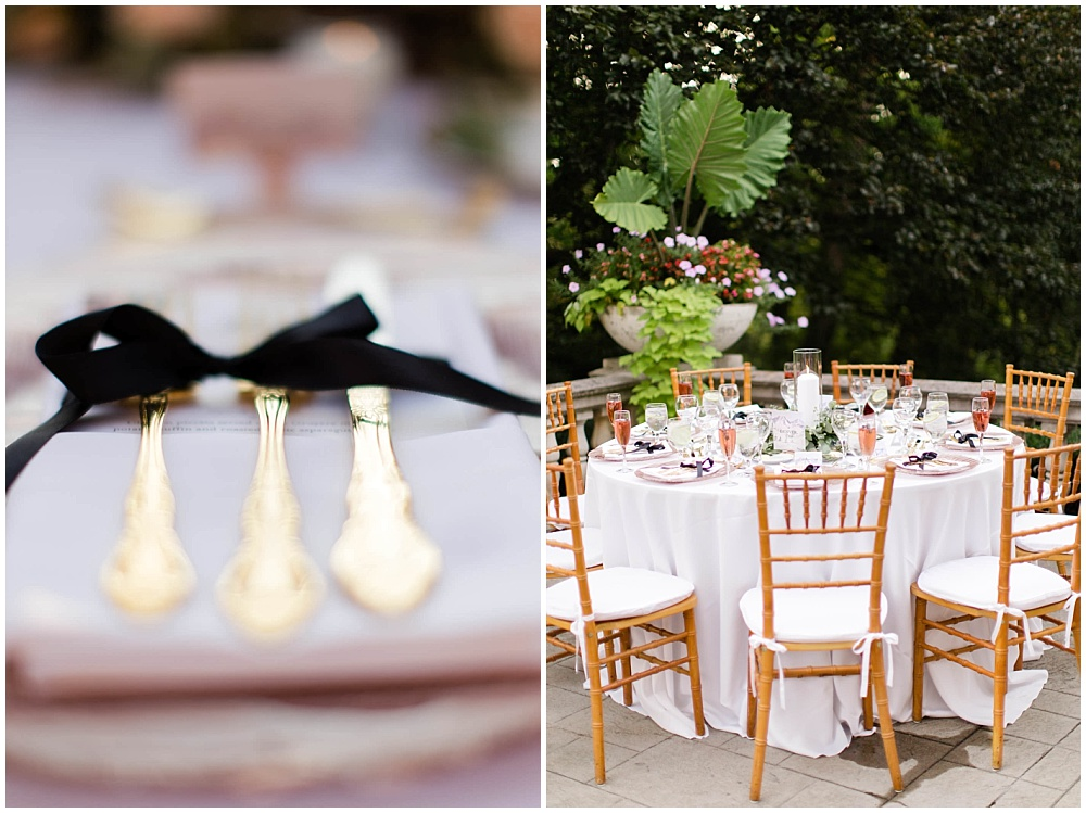 rose toast with lavender sprig; black ribbon napkin tie; rose gold chargers; gold flatware; mixed metallics; wedding tablescape; white wedding   Outdoor Terrace Wedding, Laurel Hall - Danielle Harris Photography; Jessica Dum Wedding Coordination