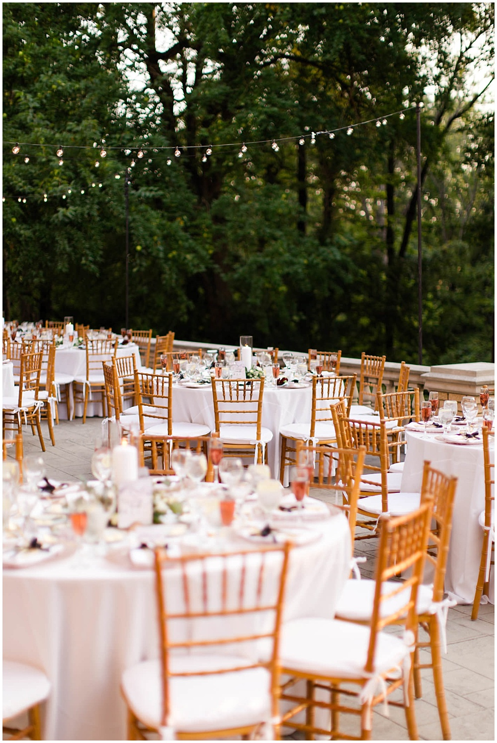 rose toast with lavender sprig; rose gold chargers; gold flatware; mixed metallics; wedding tablescape; white wedding | Outdoor Terrace Wedding, Artfully Wed Feature; Laurel Hall - Danielle Harris Photography; Jessica Dum Wedding Coordination