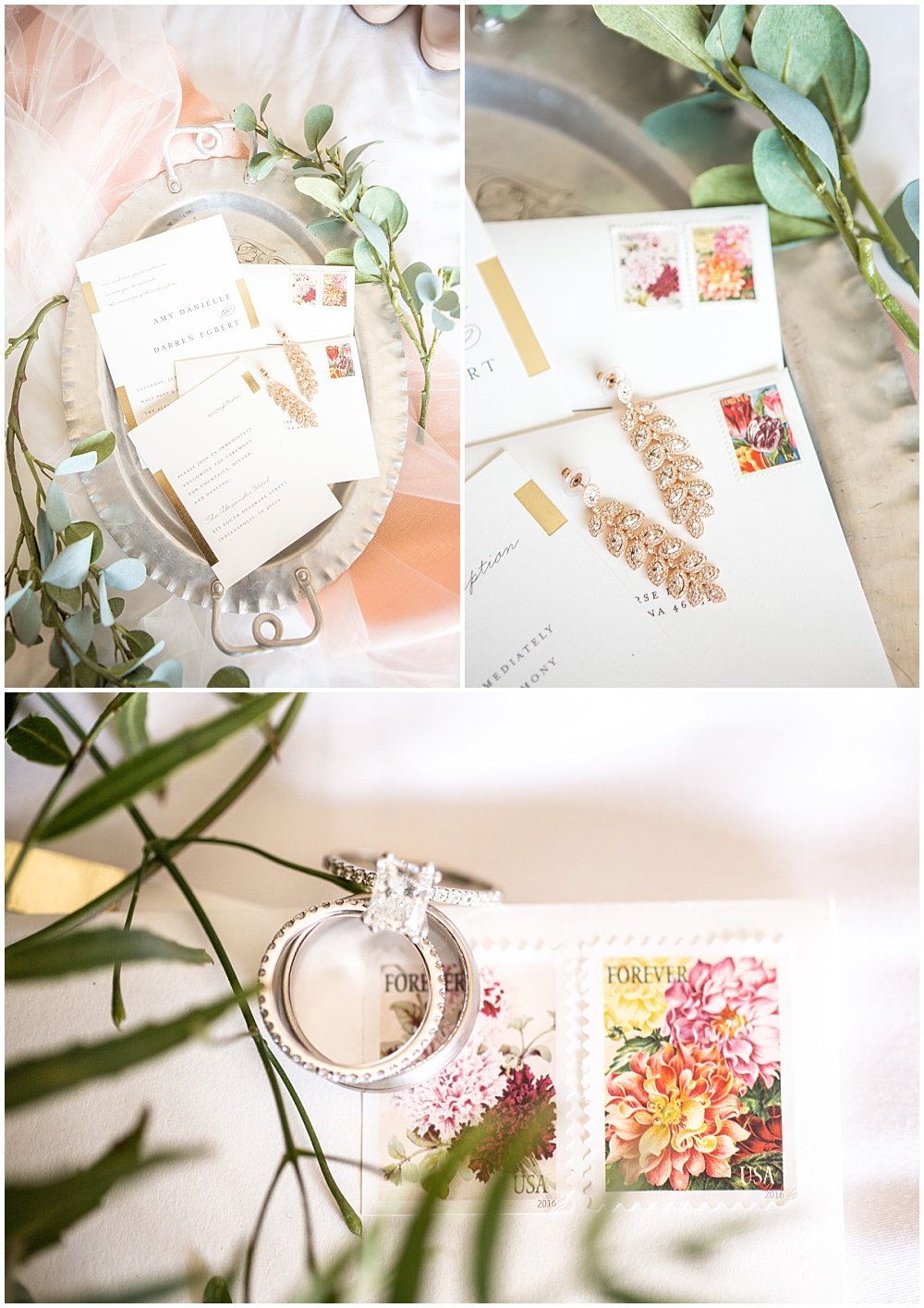 invitation suite, white wedding invite, vintage tray, invitation details, bridal jewelry, colorful, modern wedding at The Alexander Hotel | Conforti Photography and Jessica Dum Wedding Coordination
