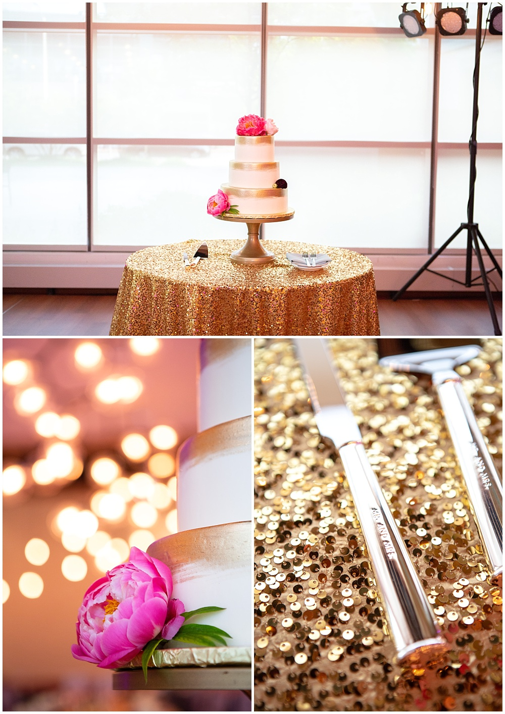 sequin linens, gold wedding, gold cake stand, pink cake flowers, white and gold wedding cake, Colorful, modern wedding at The Alexander Hotel | Conforti Photography and Jessica Dum Wedding Coordination