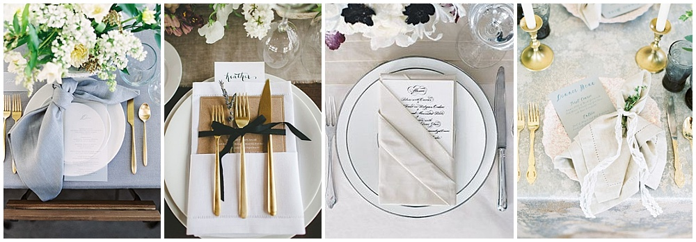Wedding reception decor ideas that make a big impact | napkin fold, unique napkin folds, knot napkin fold, pocket napkin fold, napkin fold with greenery, unique reception napkins