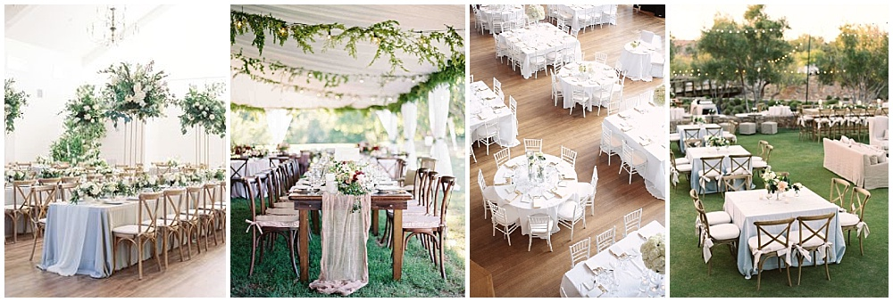 Wedding reception decor ideas that make a big impact | table ideas, square reception tables, family-style tables, mix reception tables, round and square tables