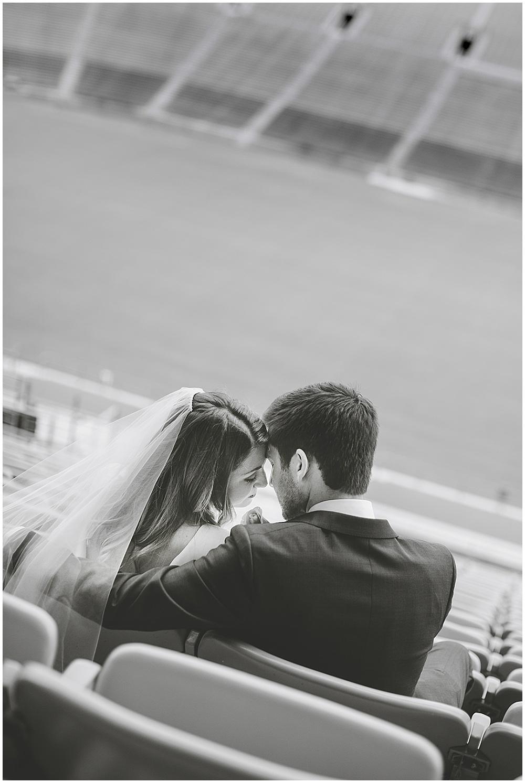 A garden-inspired Purdue University wedding | Purdue alumni wedding, shively club wedding, boilermaker wedding, blush wedding, stadium portraits