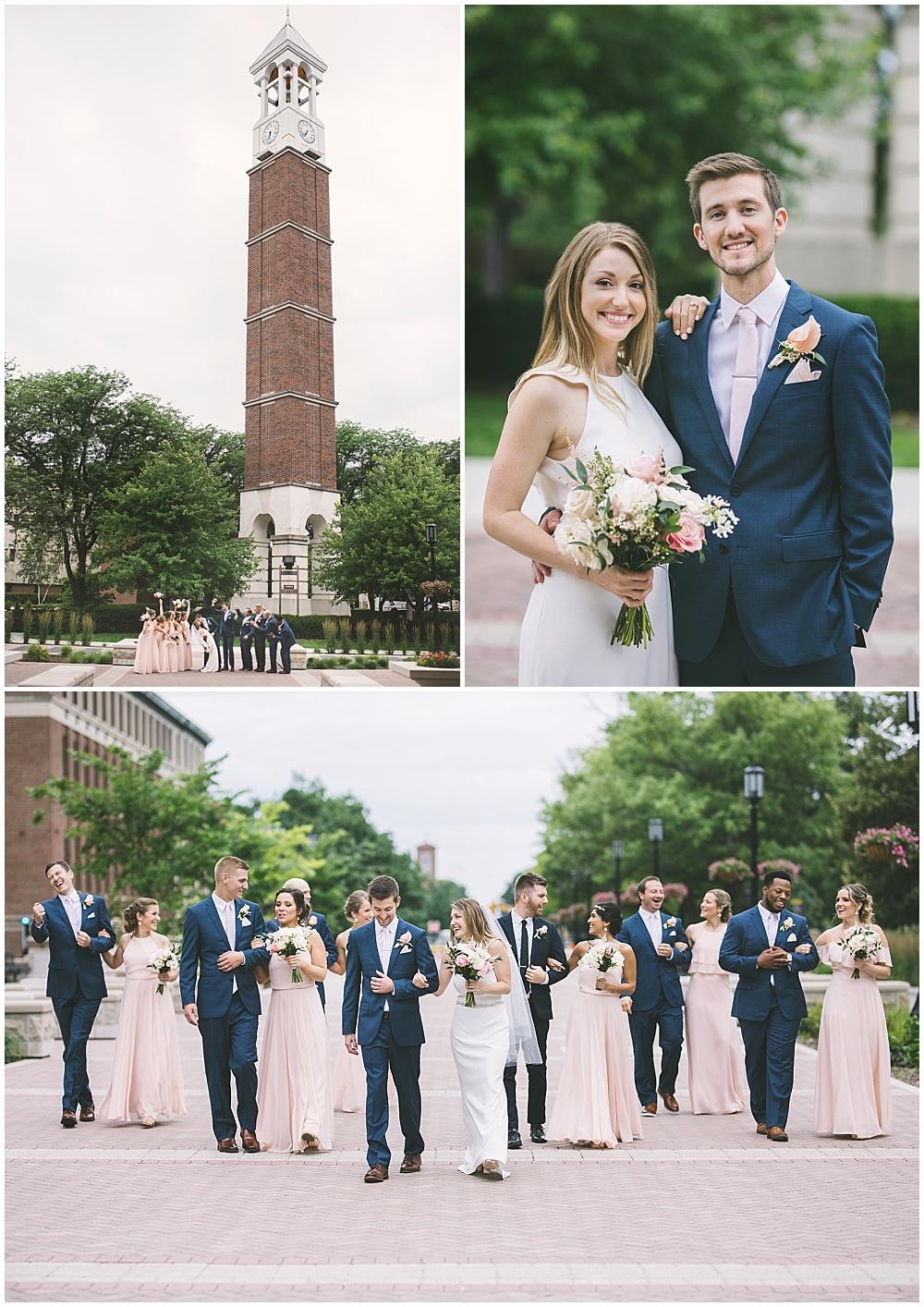A garden-inspired Purdue University wedding | Purdue alumni wedding, shively club wedding, boilermaker wedding, blush wedding, campus portraits, bridal party portraits, blush bridesmaid dresses