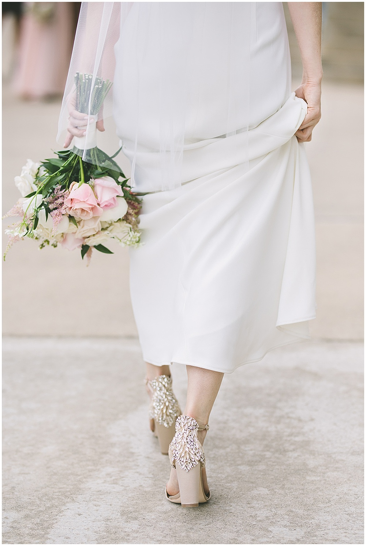 A garden-inspired Purdue University wedding | Purdue alumni wedding, shively club wedding, boilermaker wedding, blush wedding, badgley mischka shoes, bridal details