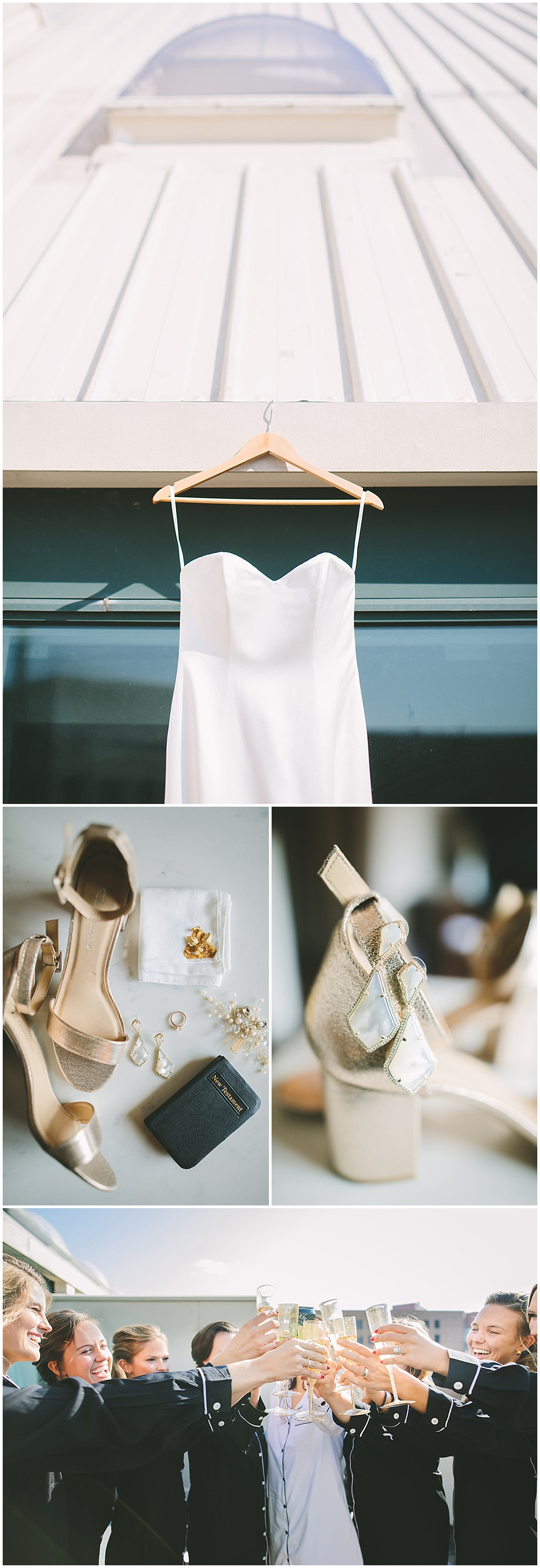 A timeless, modern wedding celebration at the Indianapolis Public Library. Bridal details, including a simple white sweatheart gown, gold shoes and a special moment with bridesmaids. | Jessica Dum Wedding Coordination