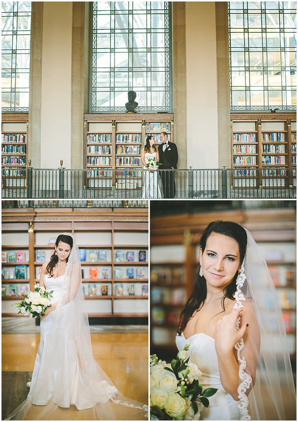 A timeless, modern wedding celebration at the Indianapolis Public Library. Bride and groom library portraits. | Jessica Dum Wedding Coordination