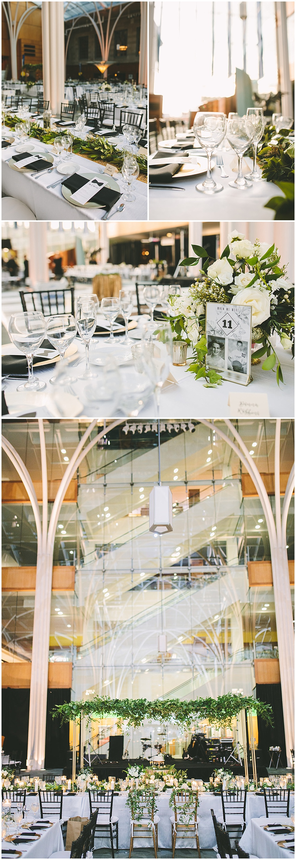 A timeless, modern wedding celebration at the Indianapolis Public Library. A black and white wedding with gold accents, suspended greenery above the reception tablescapes, and bow tie menus. | Jessica Dum Wedding Coordination