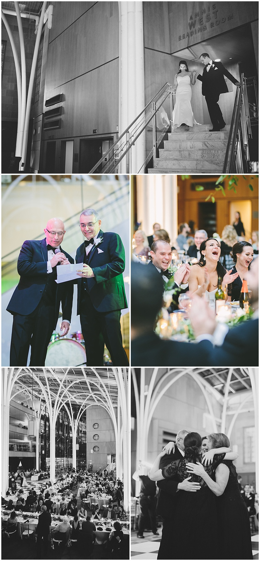 A timeless, modern wedding celebration at the Indianapolis Public Library. A black and white wedding with gold accents. | Jessica Dum Wedding Coordination