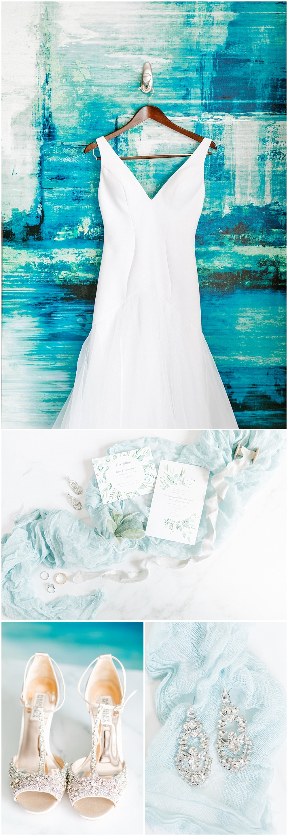 White wedding dress against a blue mural wall, gorgeous watercolor invitation suite flat lay and bridal details. | NFL Player Nick Martin's rustic chic summer wedding at the Biltwell Event Center