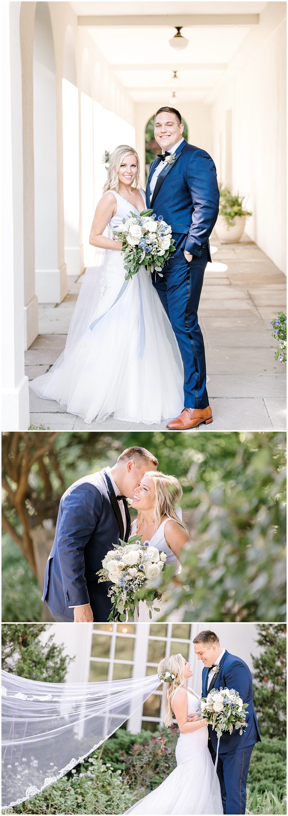 Bride and groom garden portraits; navy groom's suit | NFL Player Nick Martin's rustic chic summer wedding at the Biltwell Event Center