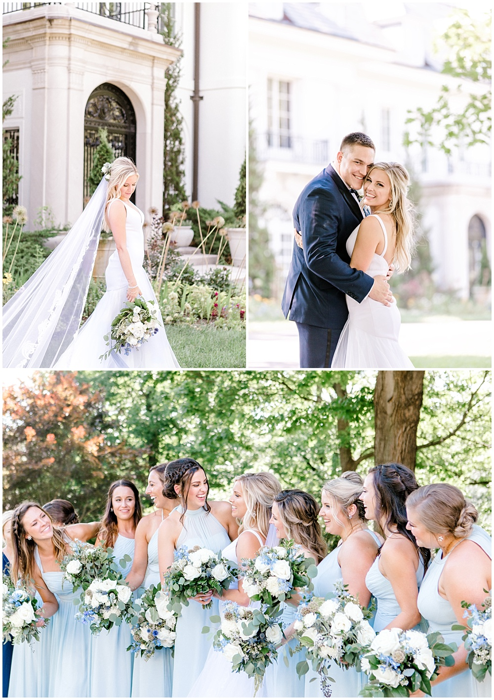 Bride and groom garden portraits; soft blue bridesmaid dresses with green and white bouquets | NFL Player Nick Martin's rustic chic summer wedding at the Biltwell Event Center