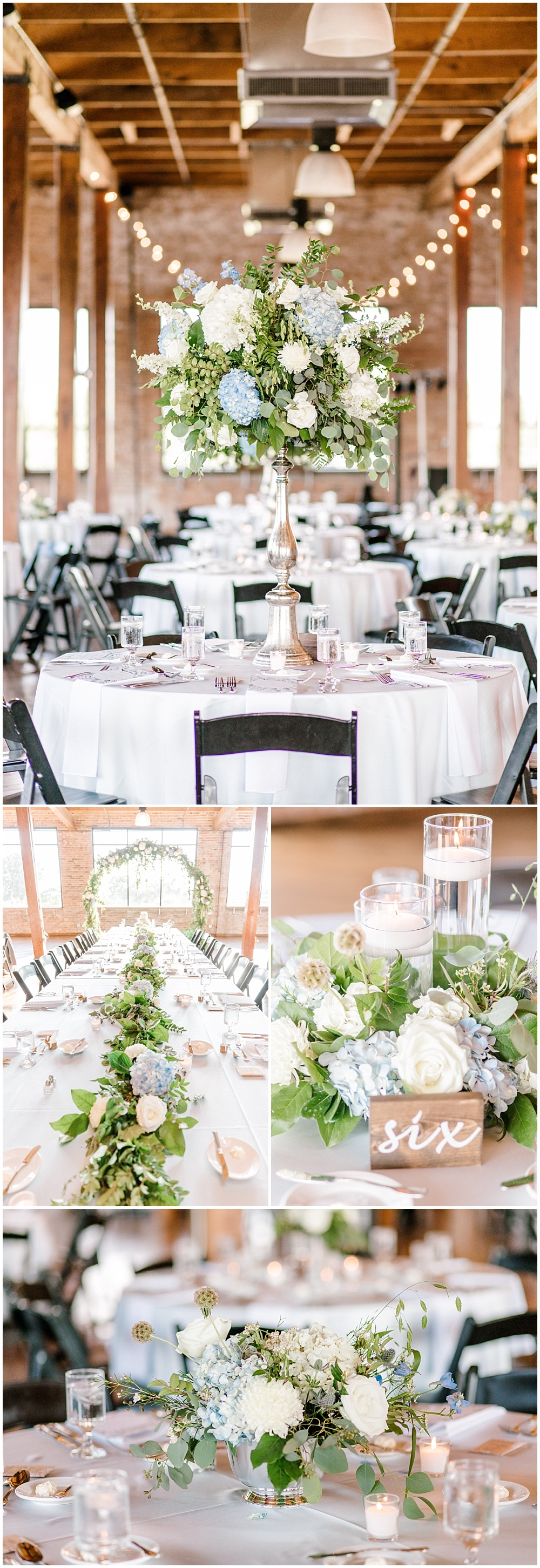 Floral and greenery Head Table arch with greenery cascading down the center; blue and white wedding flowers   NFL Player Nick Martin's rustic chic summer wedding at the Biltwell Event Center