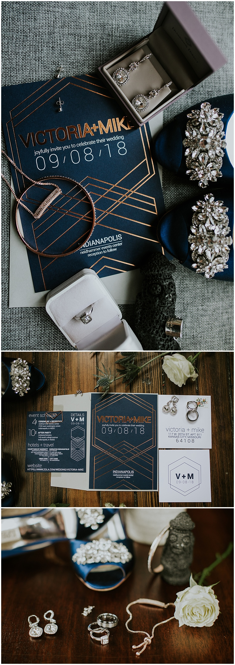 Wedding invitation suite details with wedding rings and bridal accessories | Korean-American intimate multicultural wedding in Neidhammer coffee shop