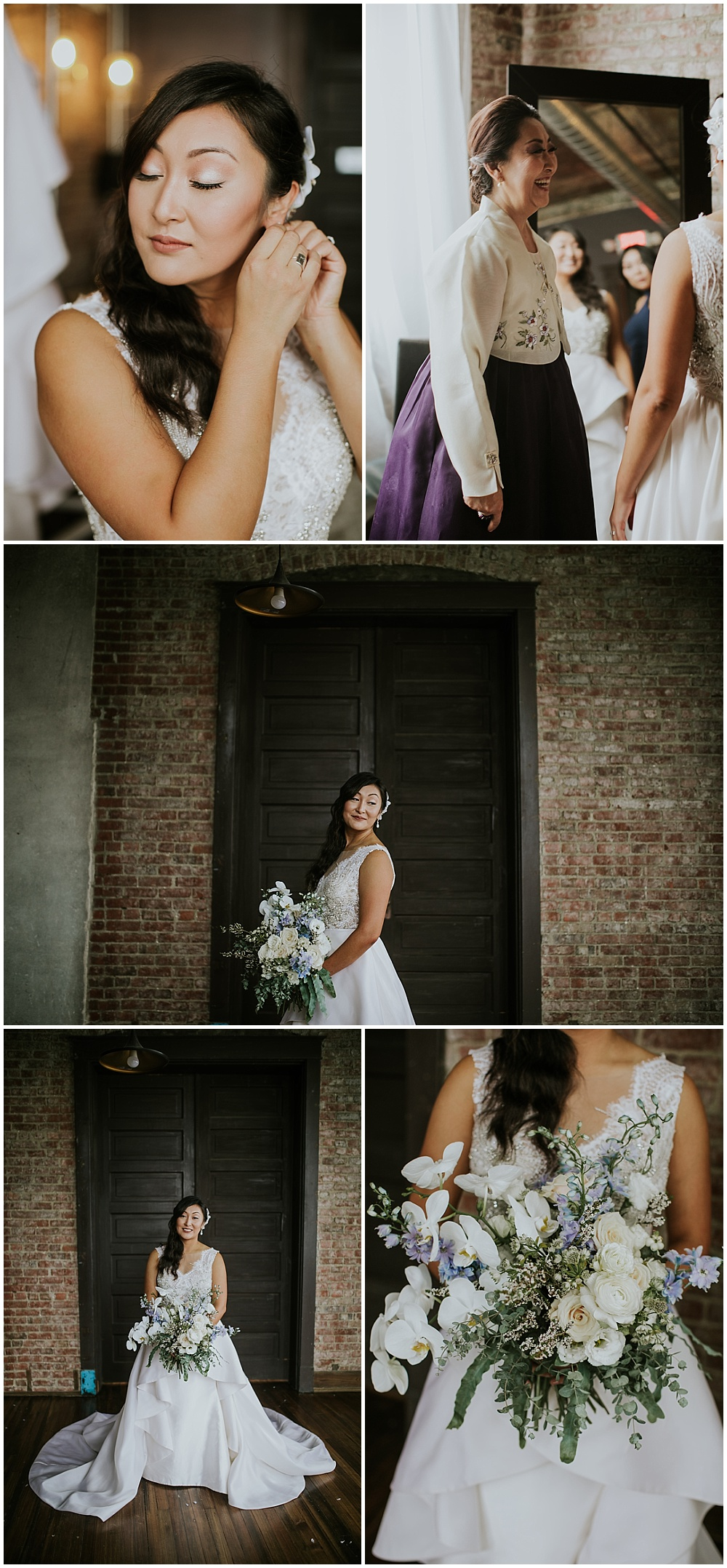 Bridal portraits and details; white ornate v-neck wedding dress with green, blue and white bridal bouquet | Korean-American intimate multicultural wedding in Neidhammer coffee shop