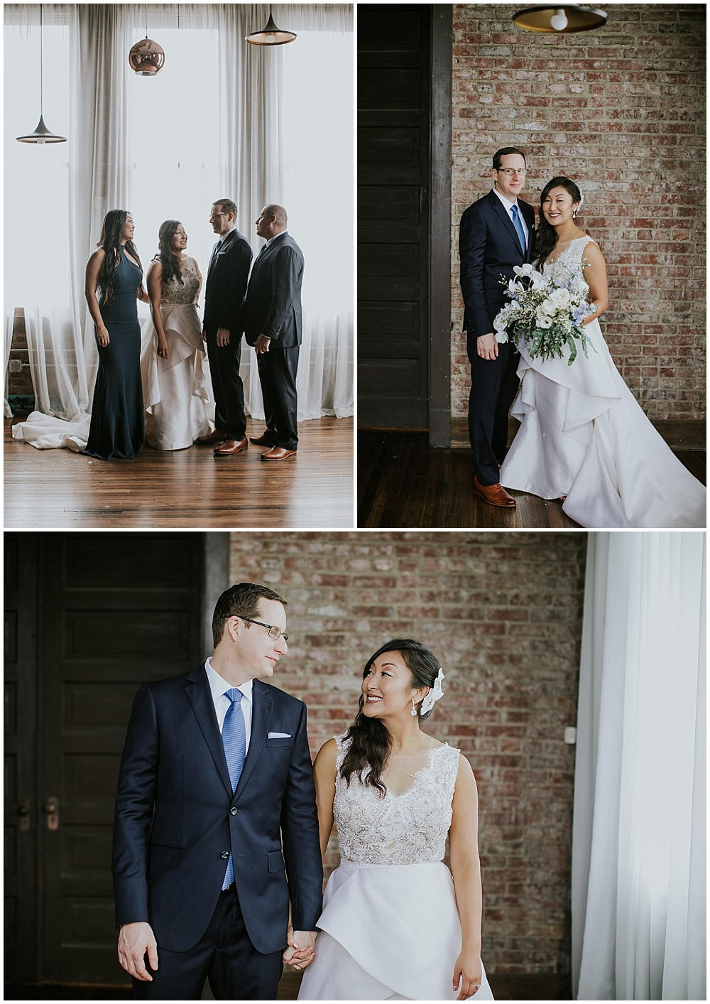 Bride and Groom portraits with small, intimate bridal party; ornate white v-neck wedding dress | Korean-American intimate multicultural wedding in Neidhammer coffee shop
