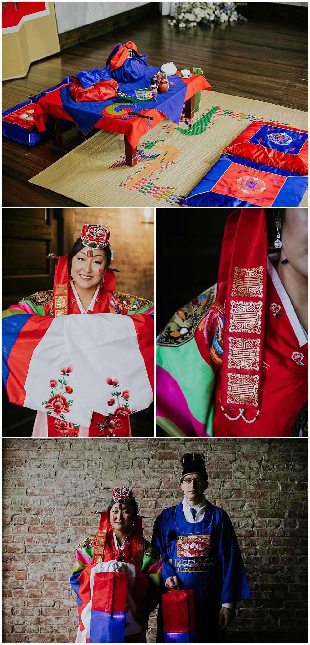 Korean ceremony details and Bride and Groom Korean wedding attire | Korean-American intimate multicultural wedding in Neidhammer coffee shop