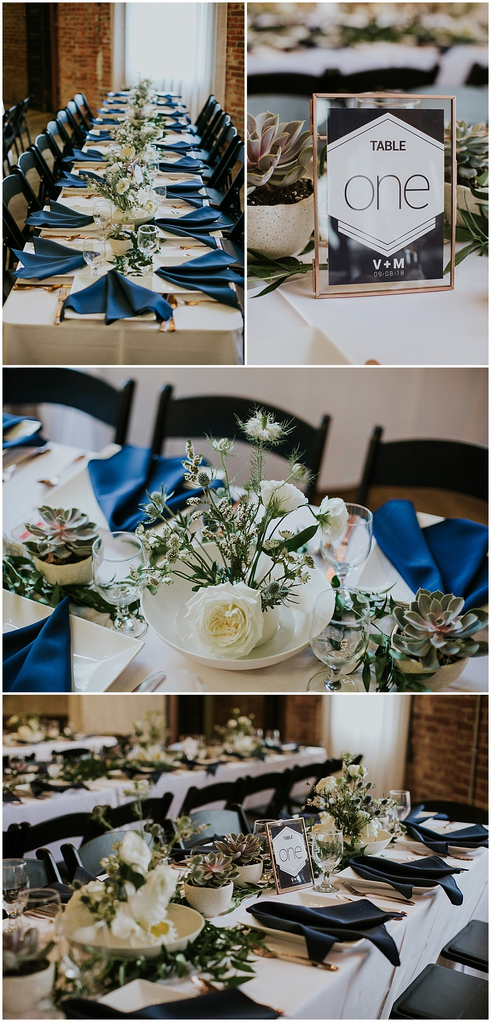 Beautiful green, white and blue wedding tablescape with navy napkins on white linens with assortments of succulents and white roses | Korean-American intimate multicultural wedding in Neidhammer coffee shop